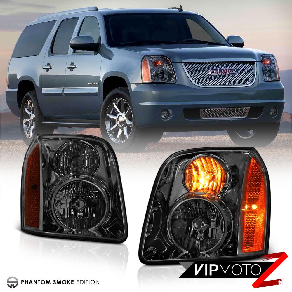 2007 2014 gmc yukon xl 1500 denali smoke front headlights assembly left right ebay. Black Bedroom Furniture Sets. Home Design Ideas