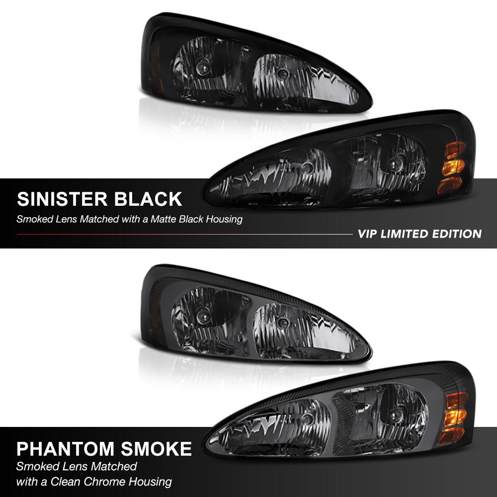 Sinister Black Factory Style Headlights GXP GTP 2004-2008 Pontiac Grand Prix