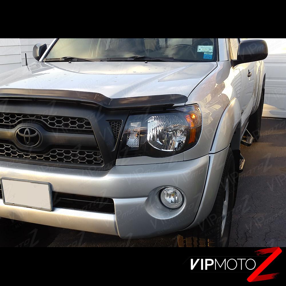 """Toyota Tacoma Headlights: 2005-2011 Toyota Tacoma """"TRD STYLE"""" Black Front Headlights"""