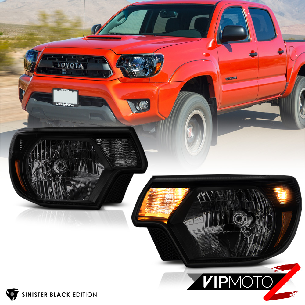 sinister black 2012 2015 toyota tacoma smoke headlights. Black Bedroom Furniture Sets. Home Design Ideas