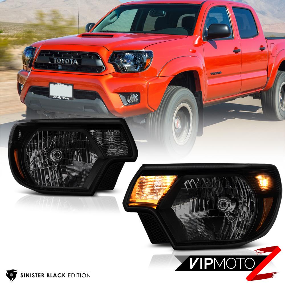 Sinister Black 2012 2015 Toyota Tacoma Smoke Headlights