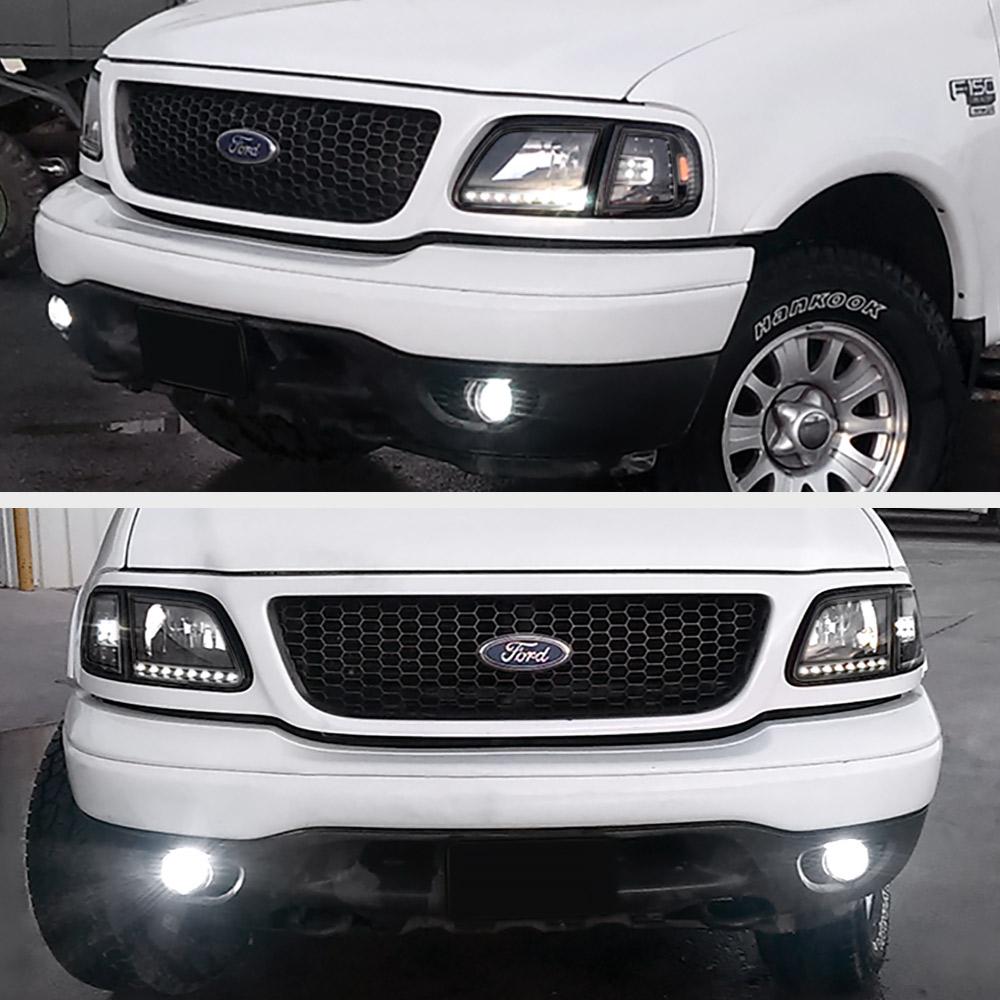 FORD 1997-2003 F150 Black 4PC Corner Head Lights Lamps W