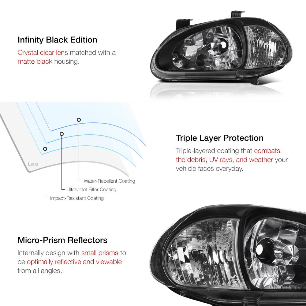 [CLEAR REFLECTOR] 1993-1997 Honda Civic Del Sol Black