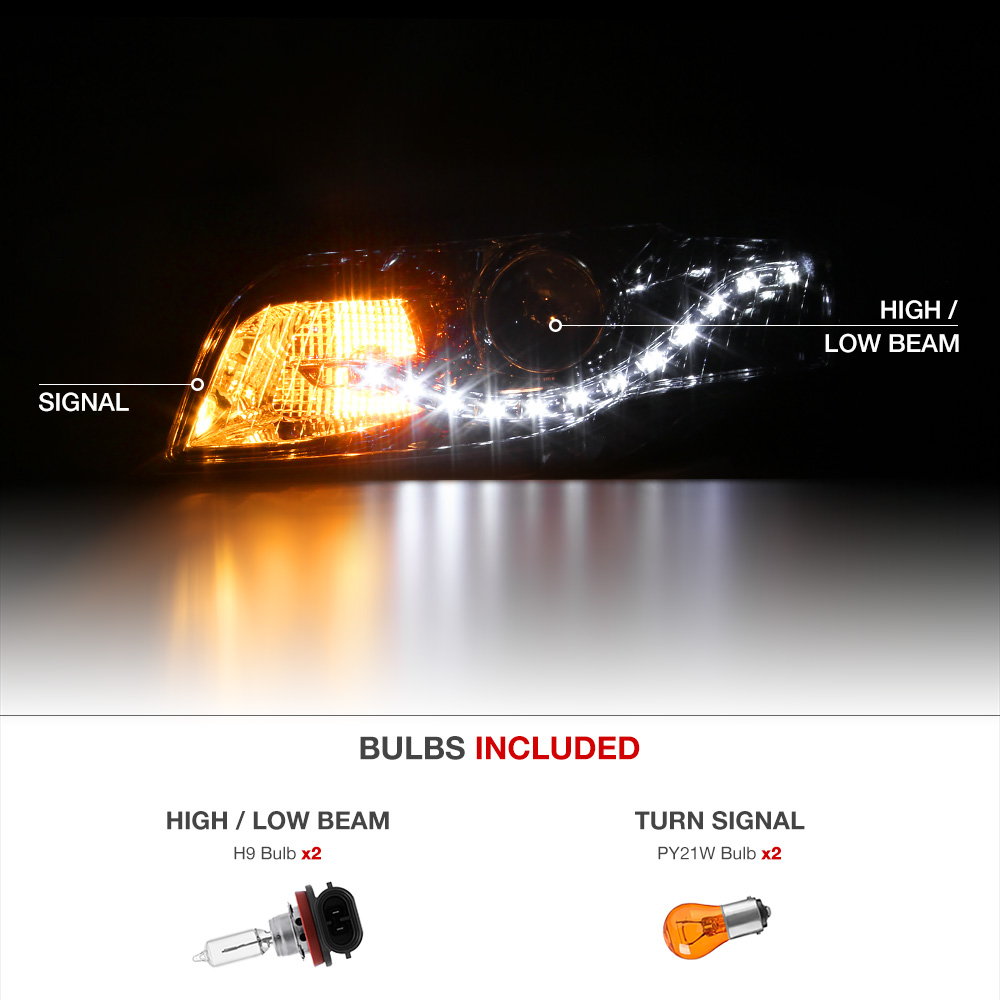 "2005-2008 Audi A4 S4 RS4 /""EURO Style/"" LED DRL Projector Headlights Replacement"
