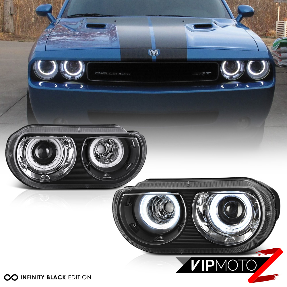 Headlight For 2008-2014 Dodge Challenger Left Clear Lens Halogen With Bulb