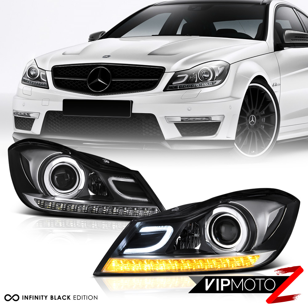 2012 2014 mercedes benz w204 c250 c300 c350 c63 black for Mercedes benz c300 headlights