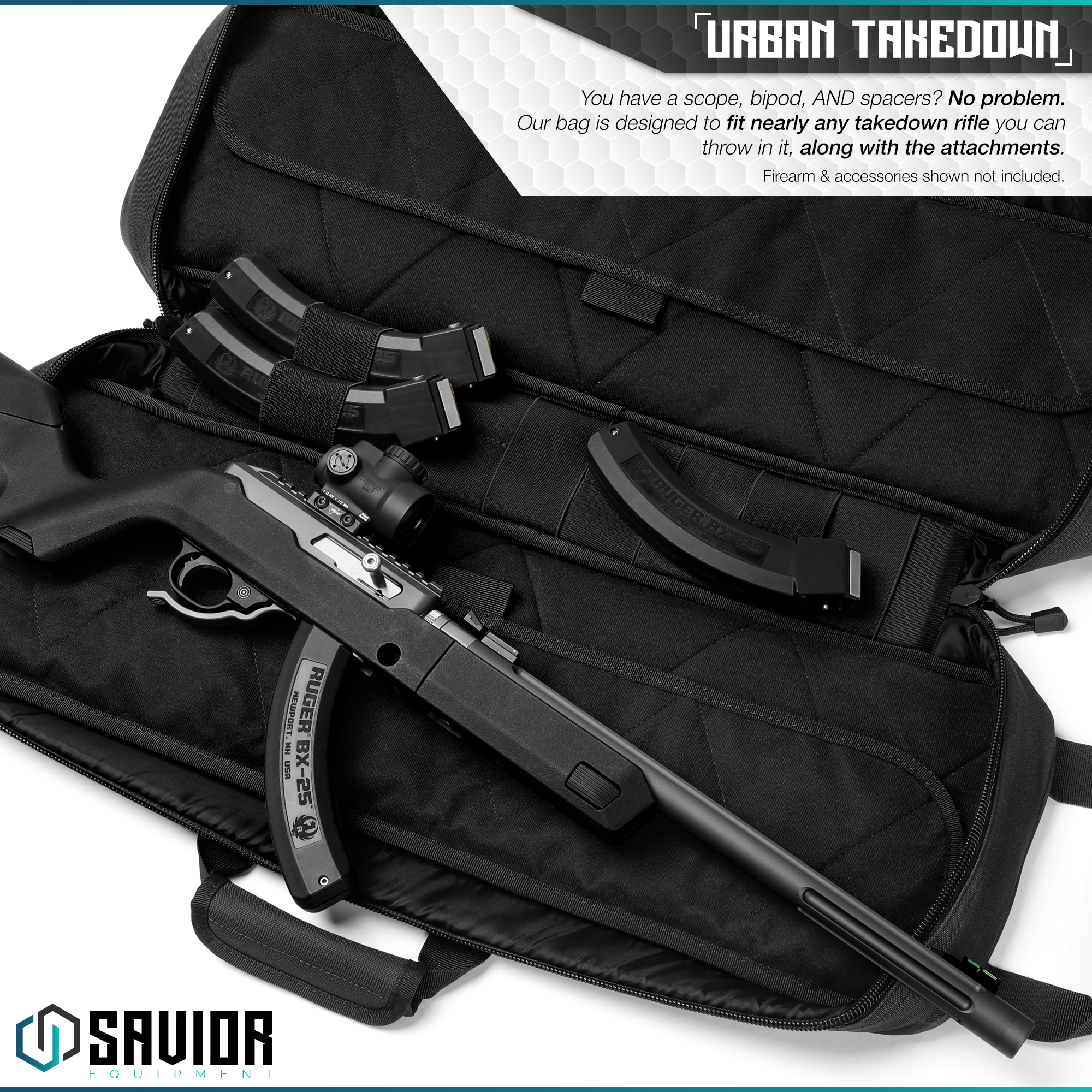 Savior-Tactical-Urban-Takedown-Bag-Carbine-Rifle-Padded-Shotgun-Firearm-Backpack thumbnail 9