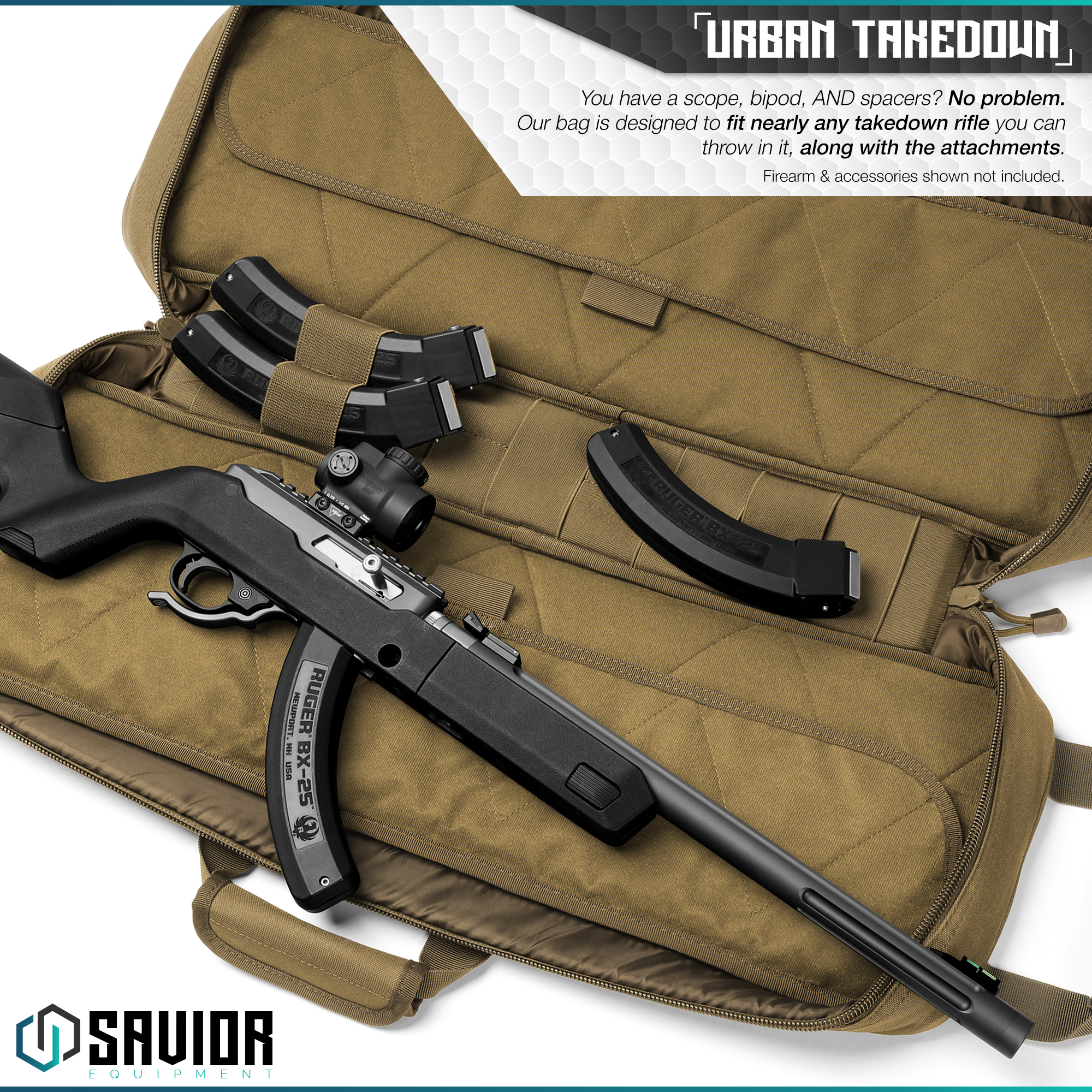 Savior-Tactical-Urban-Takedown-Bag-Carbine-Rifle-Padded-Shotgun-Firearm-Backpack thumbnail 3
