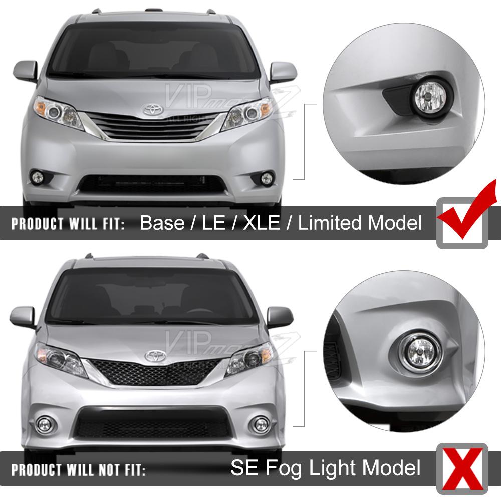 2016 Toyota Sienna Exterior: 2011-2016 Toyota Sienna Clear Fog Lights Bumper Lamps Set