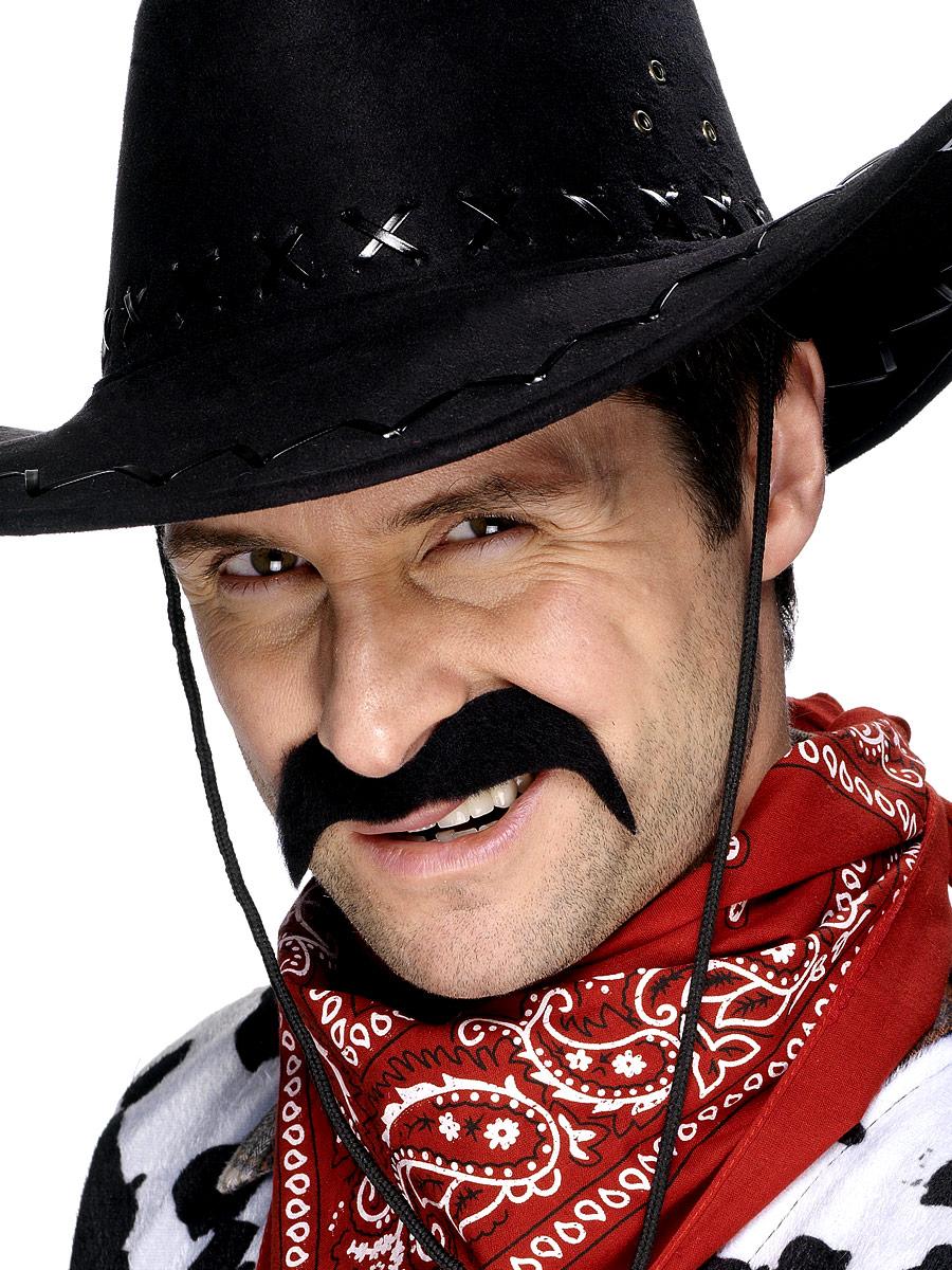 cowboy moustache tash black fancy dress party costume 5020570119280
