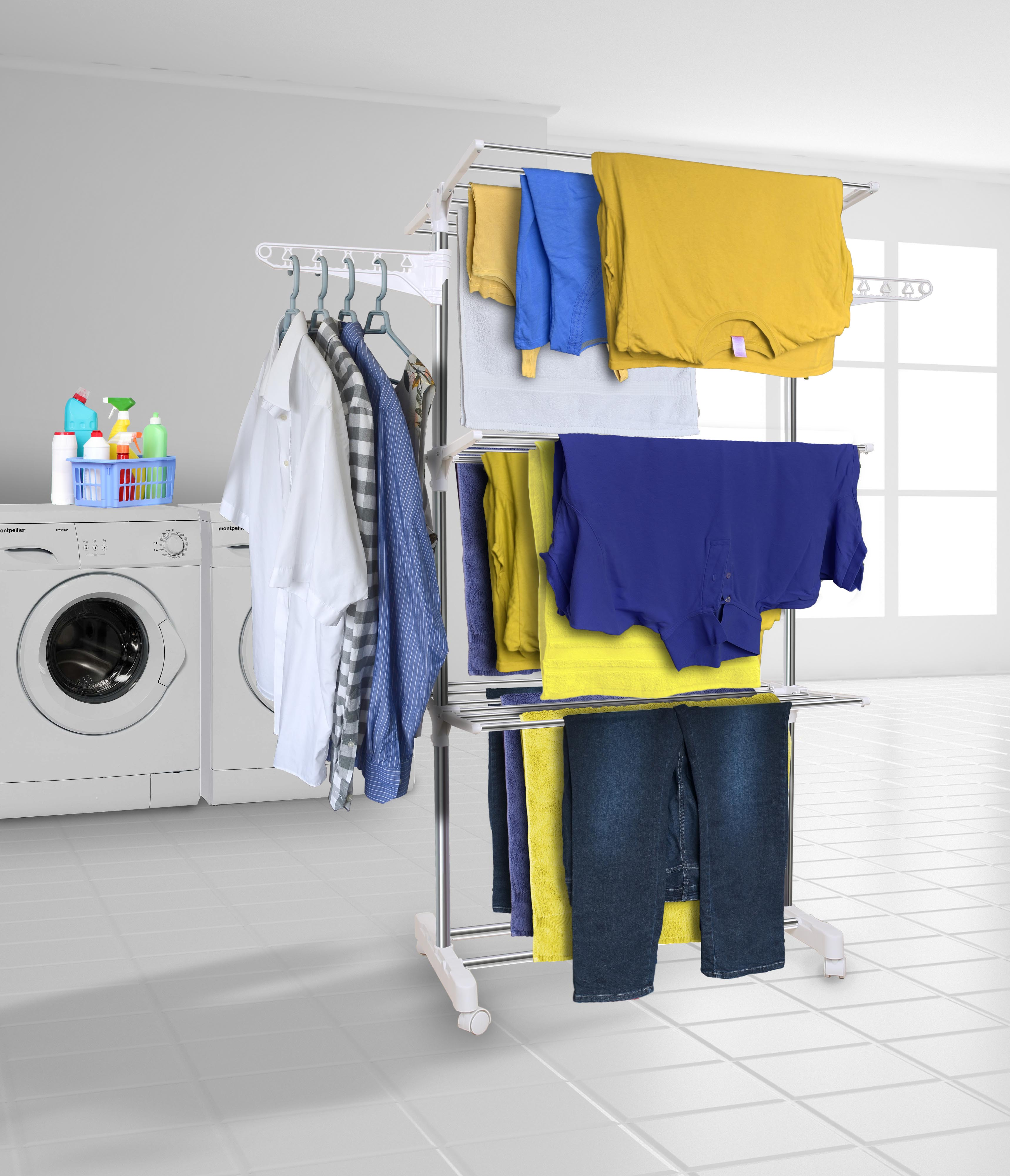 rack folds drying dryer easy large airer storage steel p rail max stainless tier clothes hyfive for flat extra