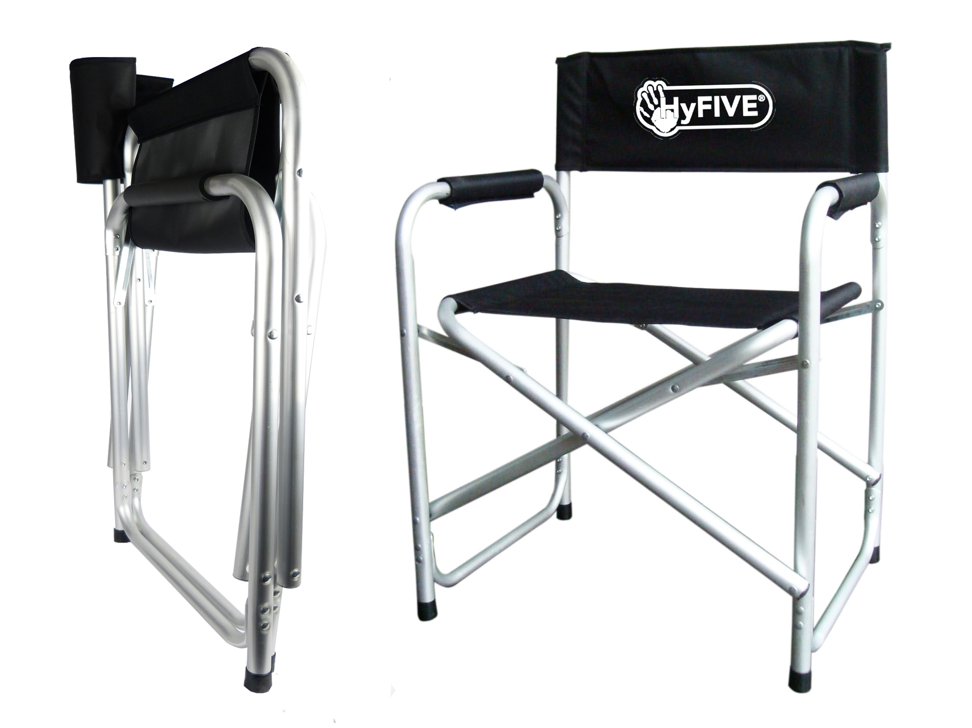 Hyfive Directors Chair Aluminium Folding Camping Seat With Arm
