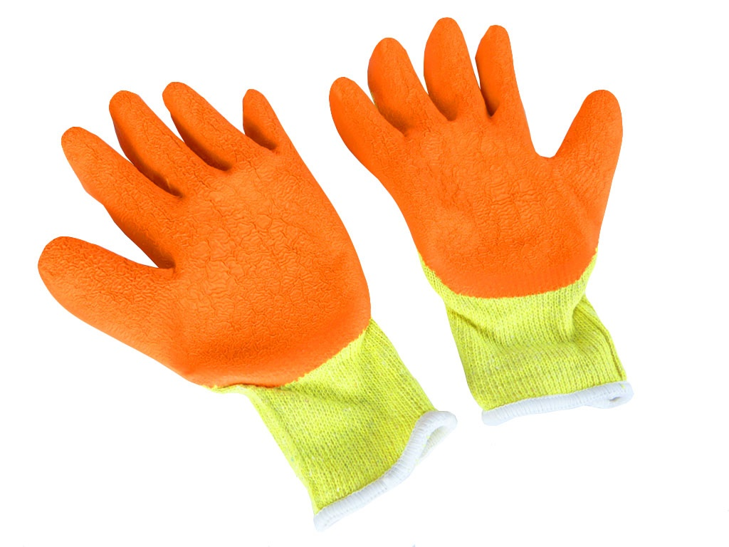 Orange Protective Safety Work Gloves Grip Glove with Latex Palm Coating