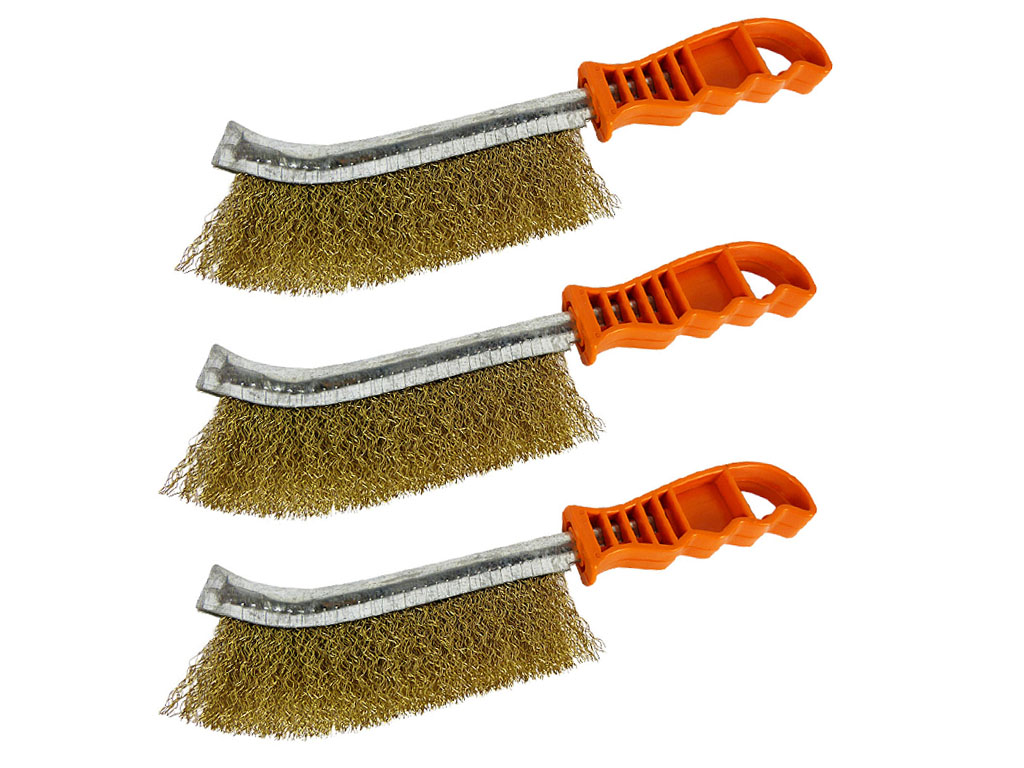 Italian Brass Coated Wire Spid Brush Rust Removal Cleaning Hand Brush 24 Pack