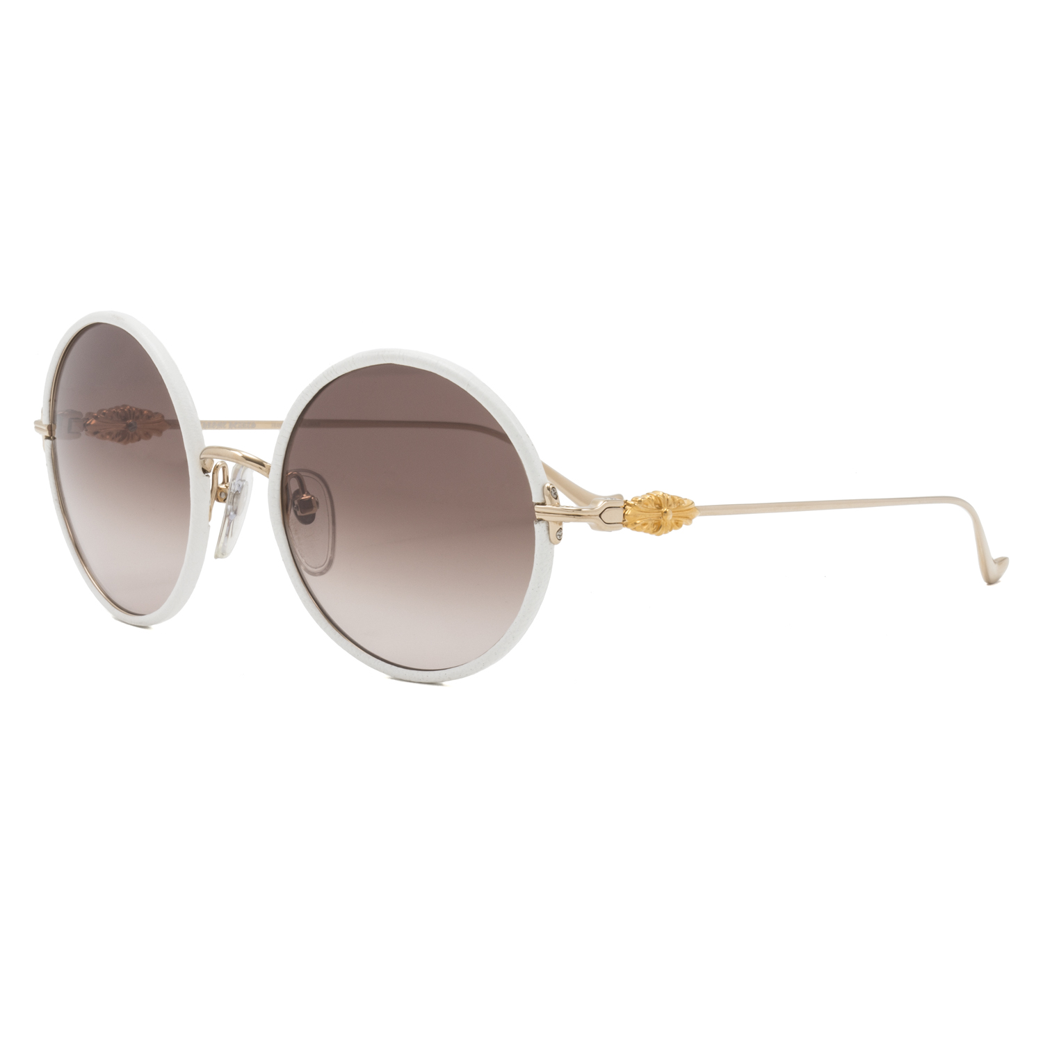3a92982eac50 Chrome Hearts Ovaryeasy Sunglasses Gold White Leather Frame Brown Gradient  Lens