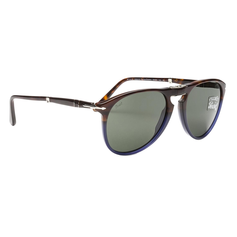 a86f2591f6 Persol 9714 Folding Aviator Sunglasses 1022 31 Terra e Oceano Brown Blue  Grey