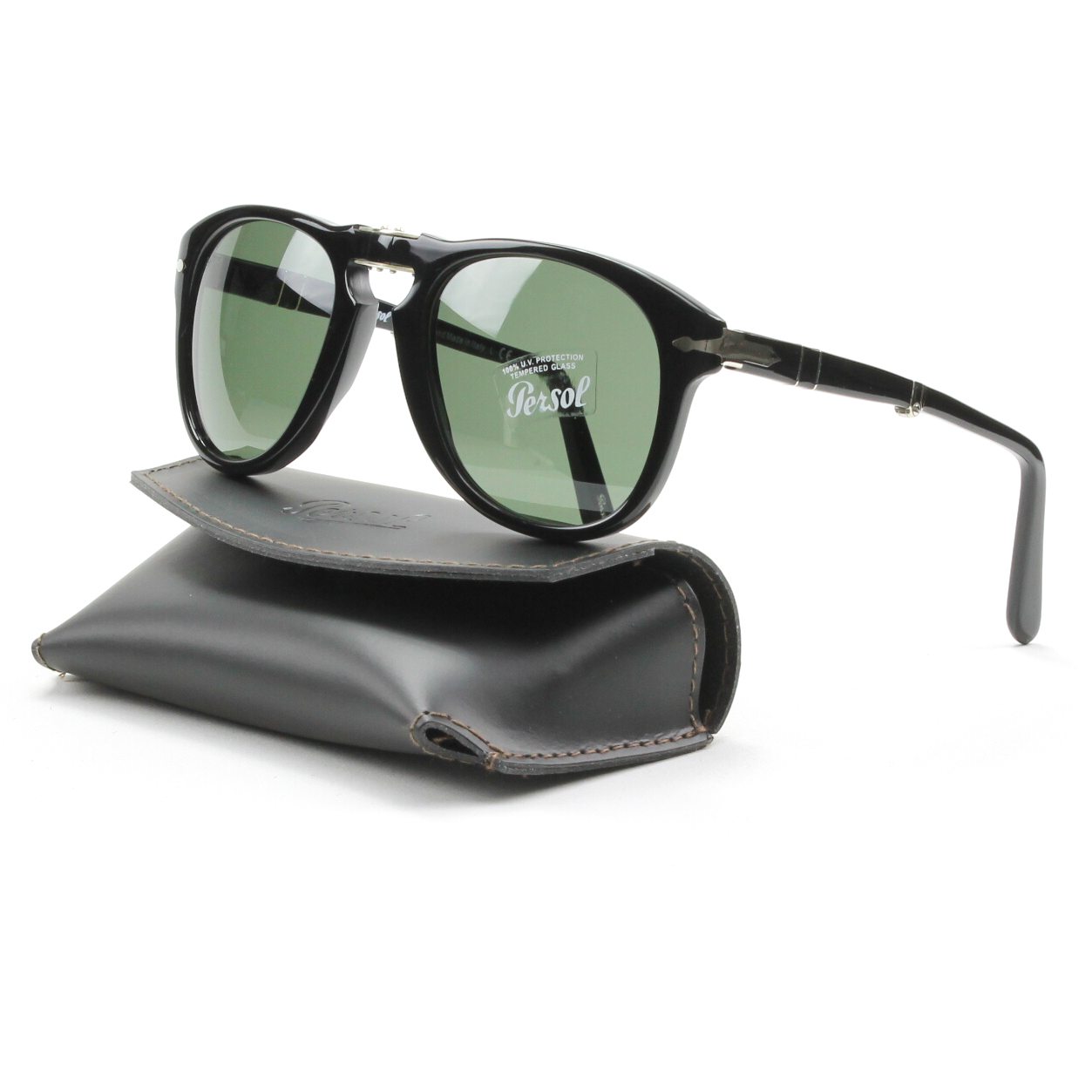 Persol 714 Folding Sunglasses 95/31 Black, Grey Crystal Lens PO0714 52mm NEW | eBay