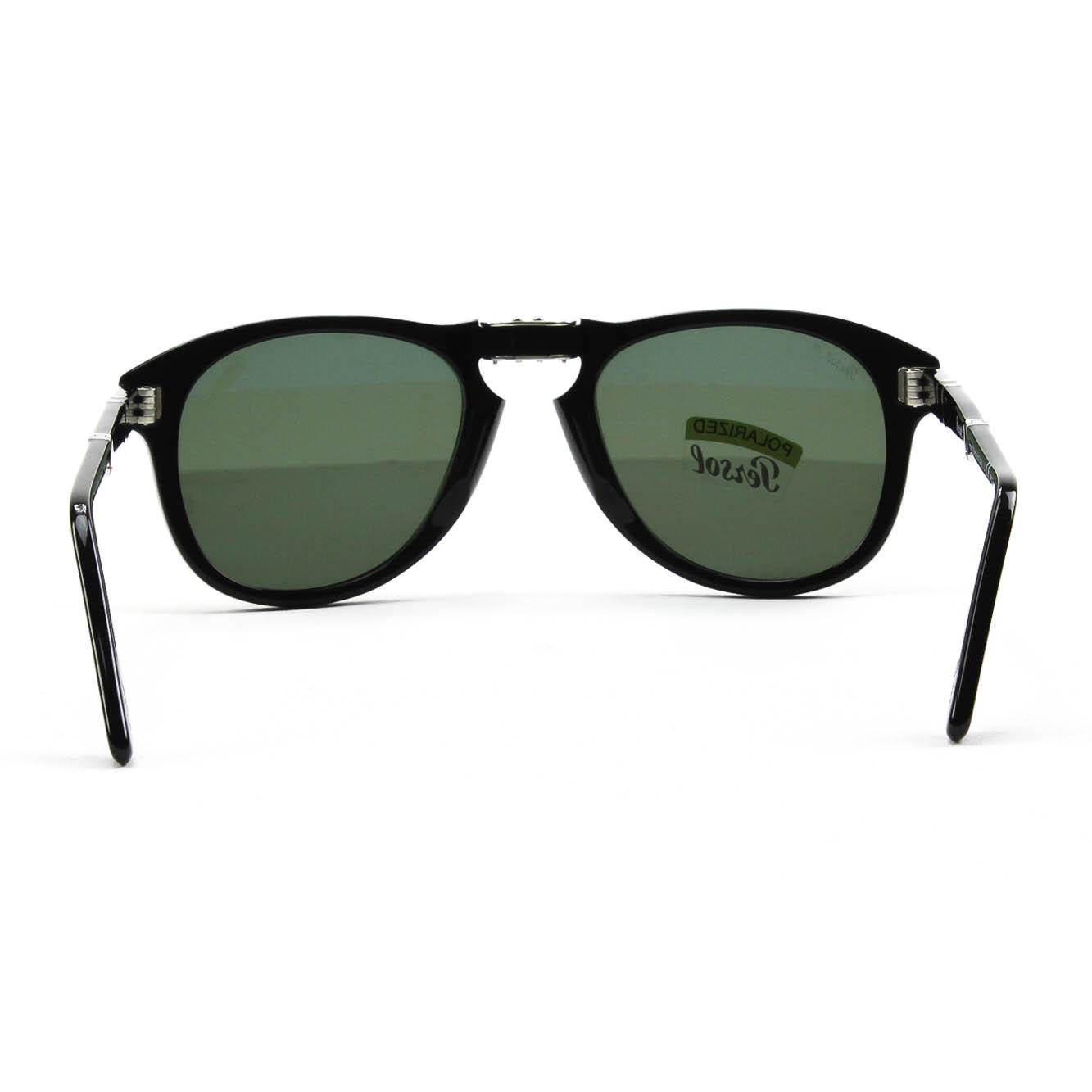 Persol 714 Folding Sunglasses 95/58 Black Grey Green Polarized Lens PO0714 52 mm | eBay