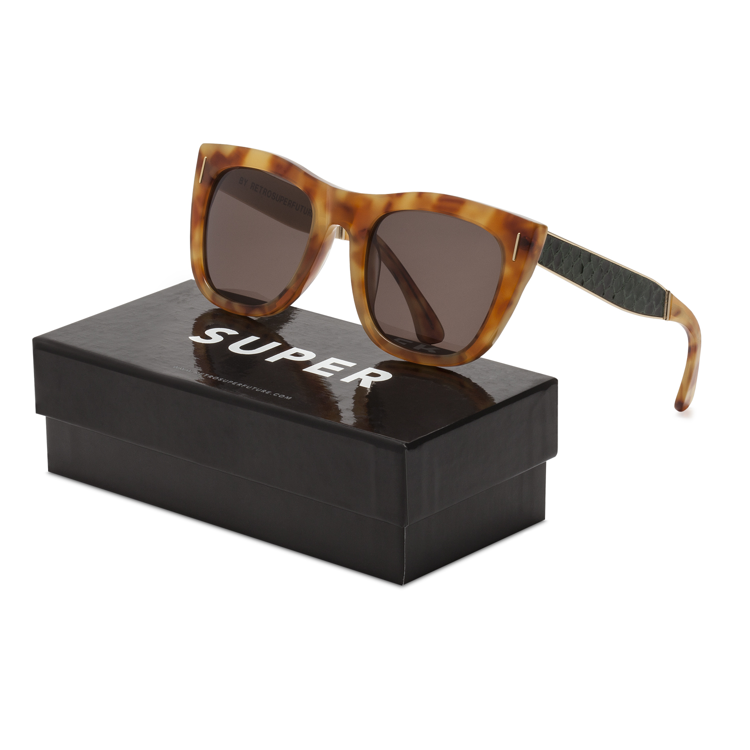 4397fa78d5c Details about RETROSUPERFUTURE Super Gals Sinner Sunglasses SU7JL Brown  Green Snake Skin Frame