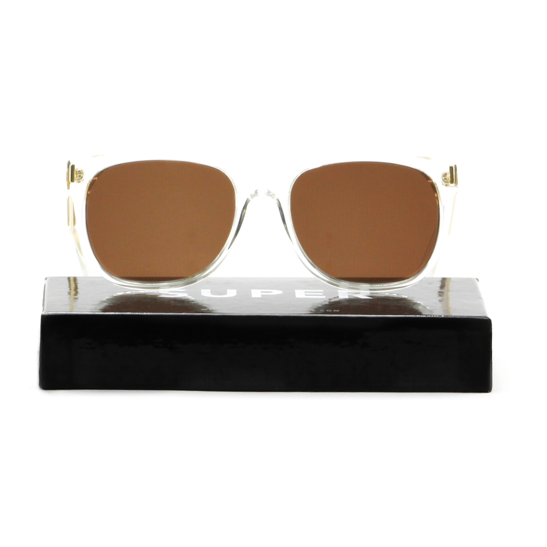 3ae16abfd98 RETROSUPERFUTURE Super Flat Top Sunglasses 893 Gold Francis Crystal   Brown  Lens