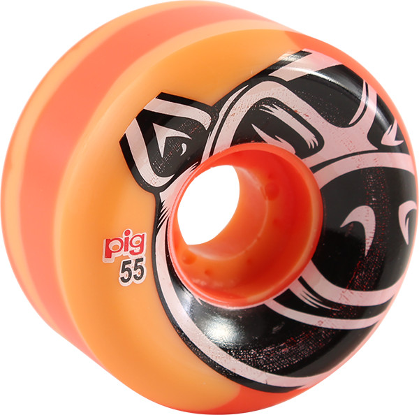 PIG HEAD CONICAL SWIRL 55mm 101a orange WHEELS SET