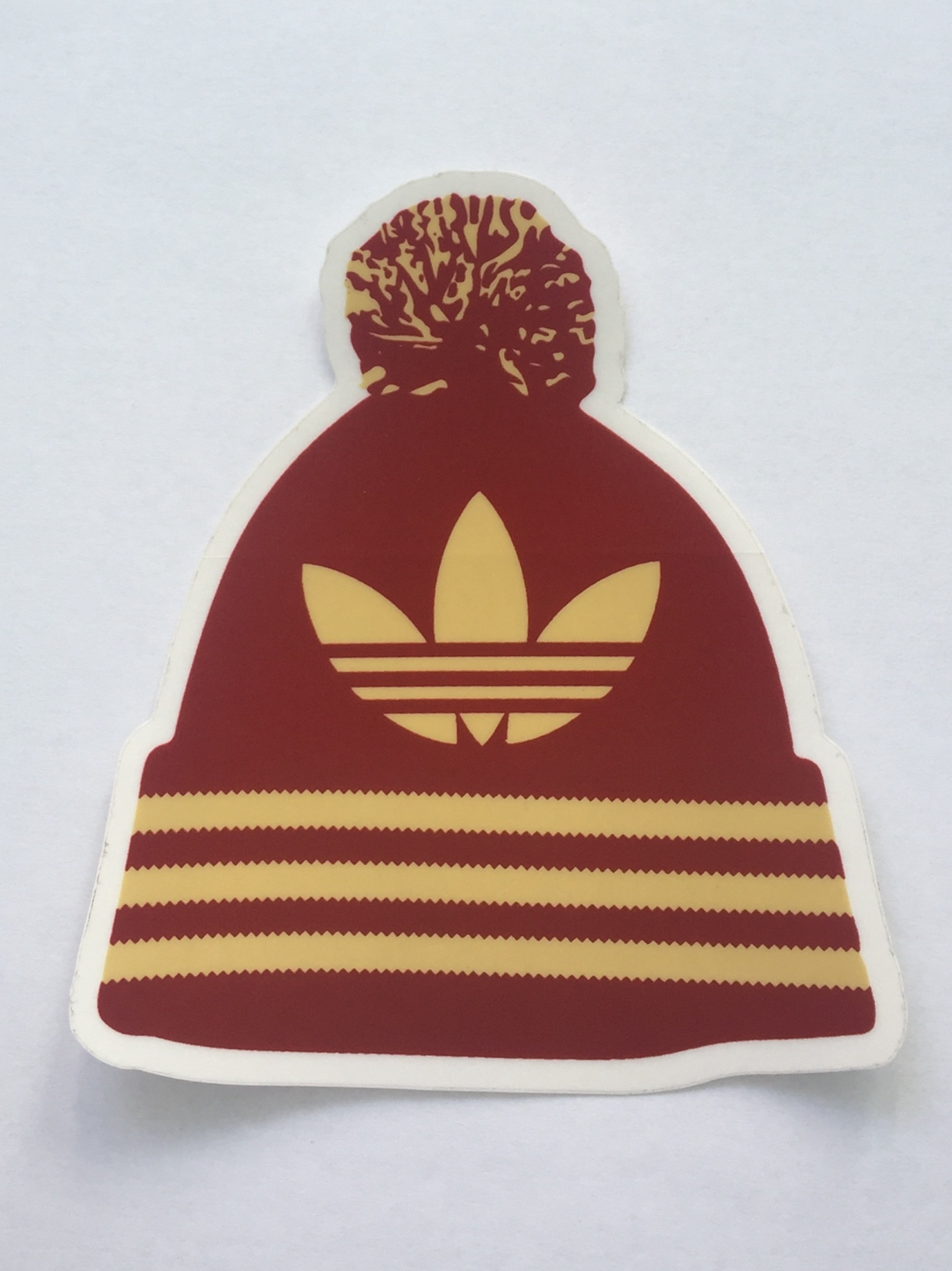 Details about Adidas Beanie Sticker Burgundy Gold 4.5inch ace95aab4cf