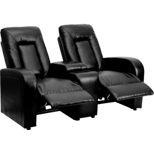 eclipse series 2-seat reclining black leather theater seating unit with cup