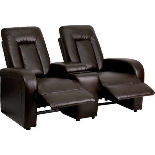 eclipse series 2-seat reclining brown leather theater seating unit with cup