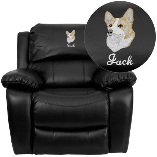 Dreamweaver Black Leather Rocker Recliner: Personalized Desi