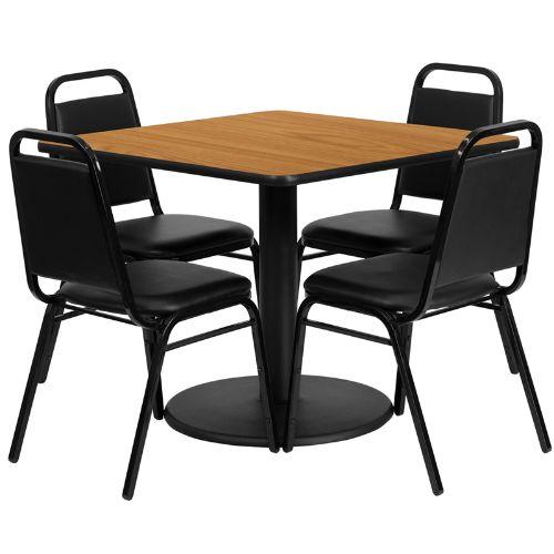 Flash Furniture 36 Inch Square Natural Laminate Table Set W/
