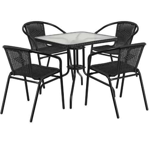 "Flash Furniture 28"" Square Glass Metal Table with Black Ratt"