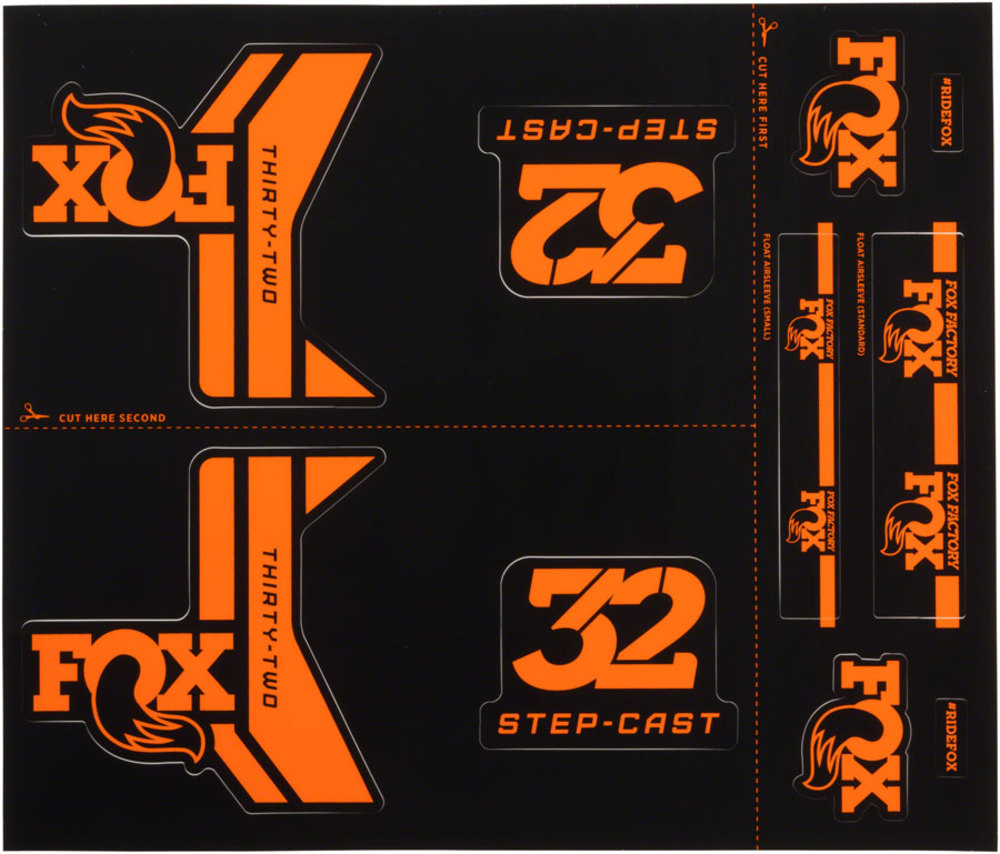 FOX 32 Step Cast SC Elite Performance Fork Suspension Decals Stickers Orange