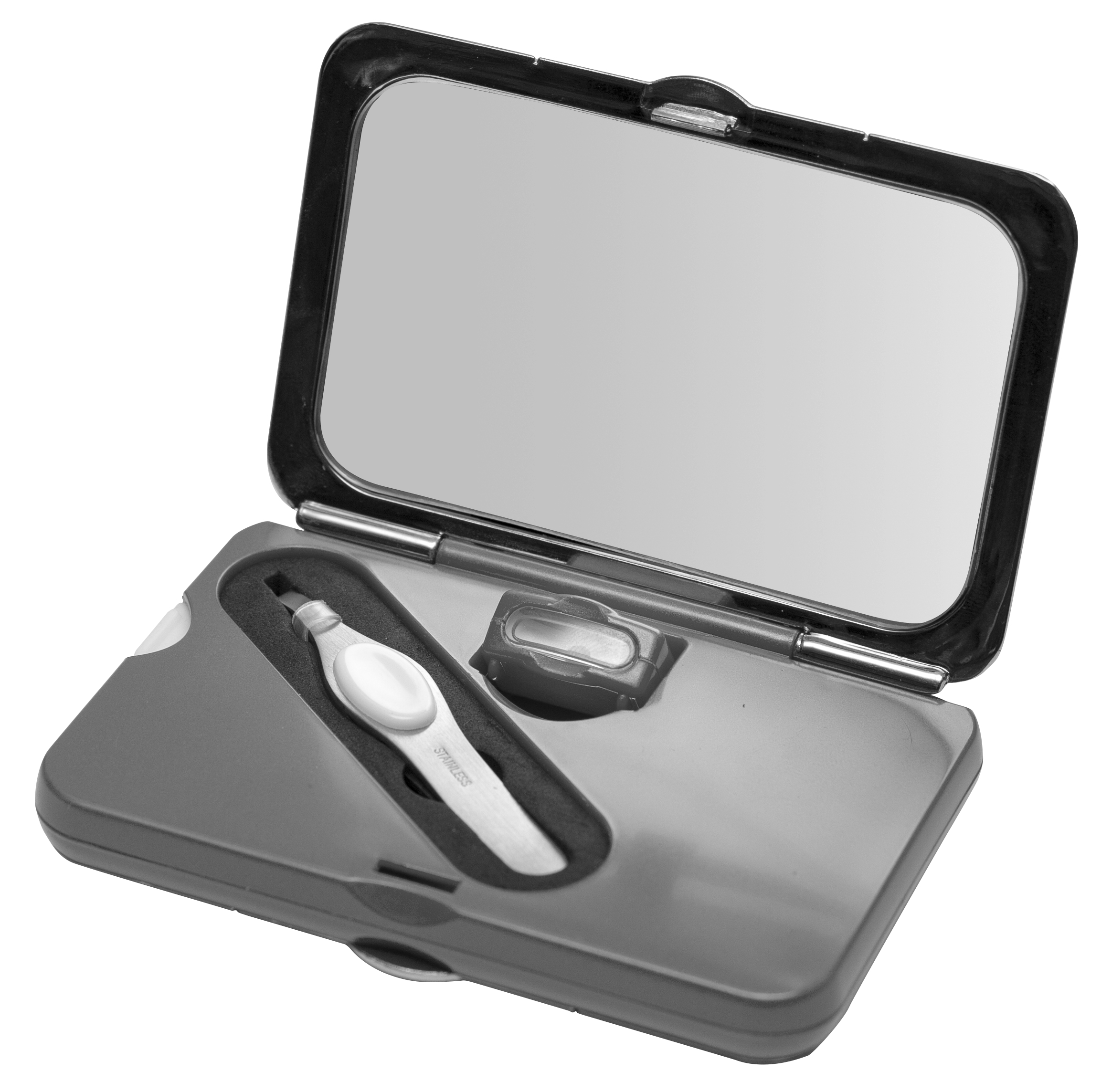 Simply Beauty Smart Compact Mirror With Tweezers Lighted