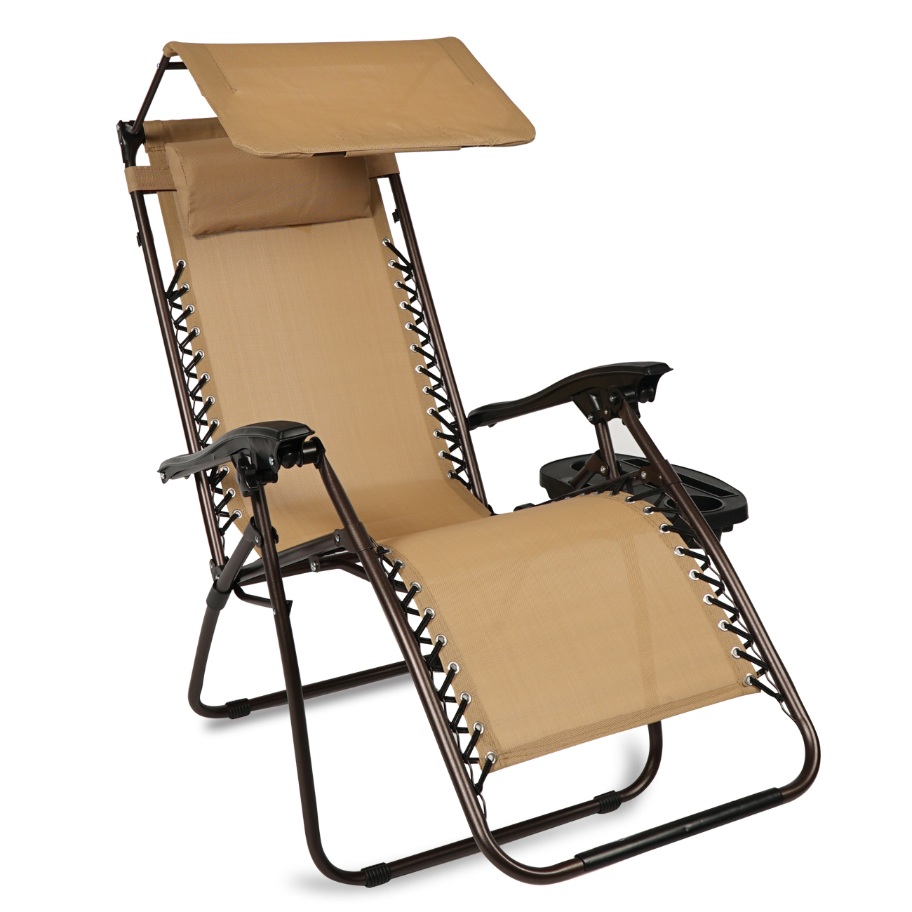 Folding Zero Gravity Lounge Chair W Canopy Cup