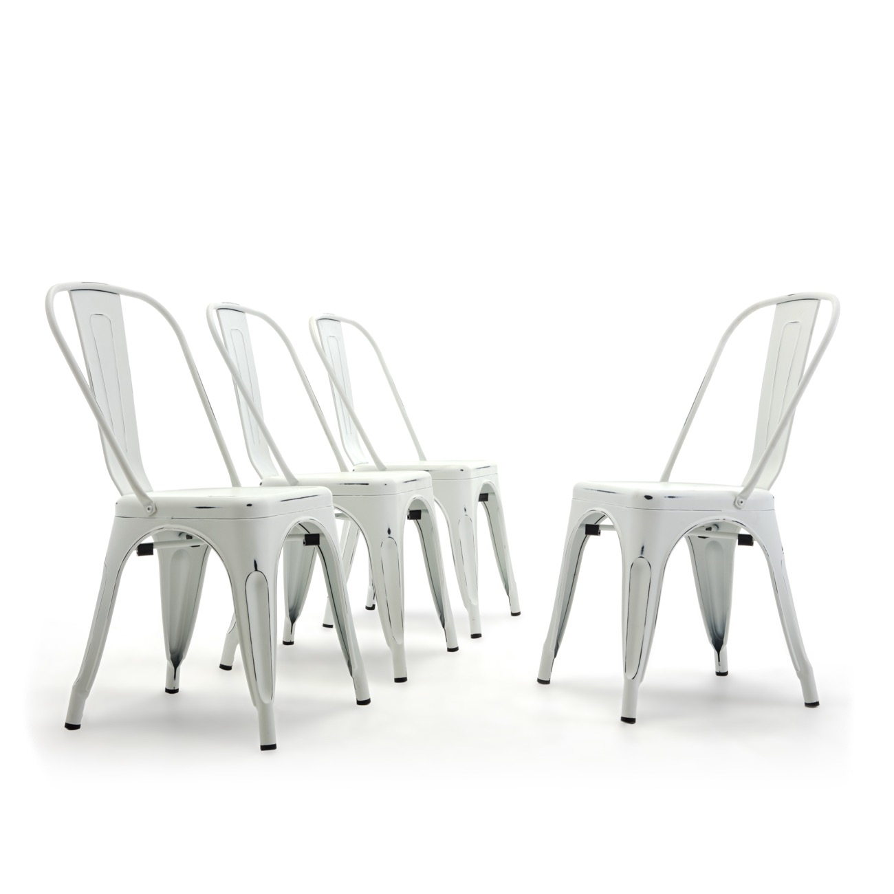 Details about set of 4 metal bistro cafe modern style dining chairs stackable antique white