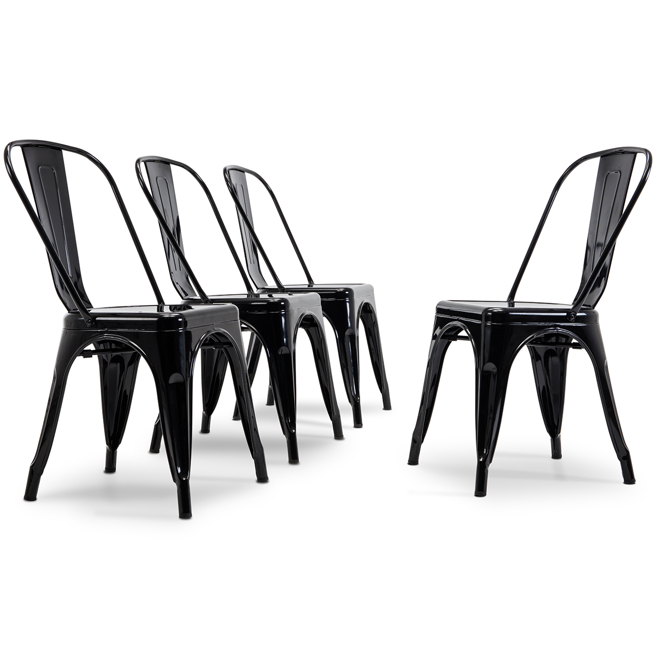 Details About Modern Set Of 4 Armless Metal Dining Chairs Cafe Kitchen Side Stackable Black