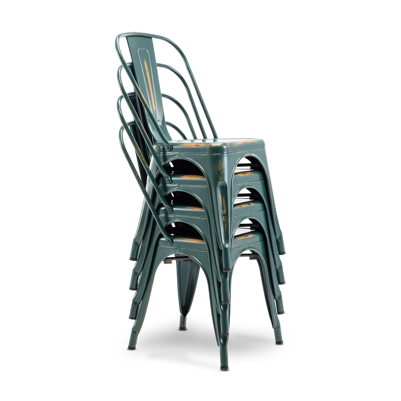4pc Dining Side Chair Stackable Bistro Cafe Metal Stool