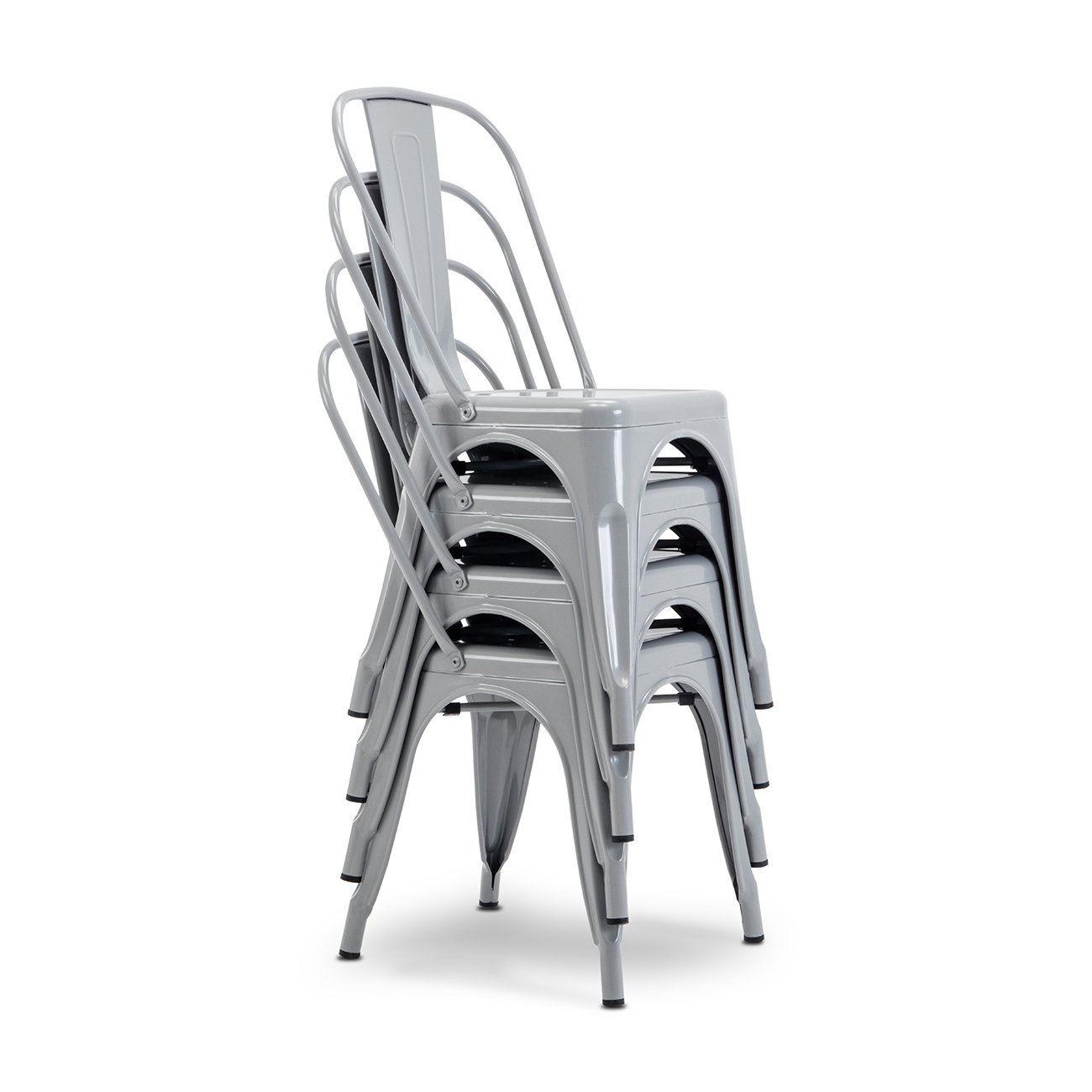 Modern Kitchen Set of 4 Dining Chairs High Back Gray Metal ...