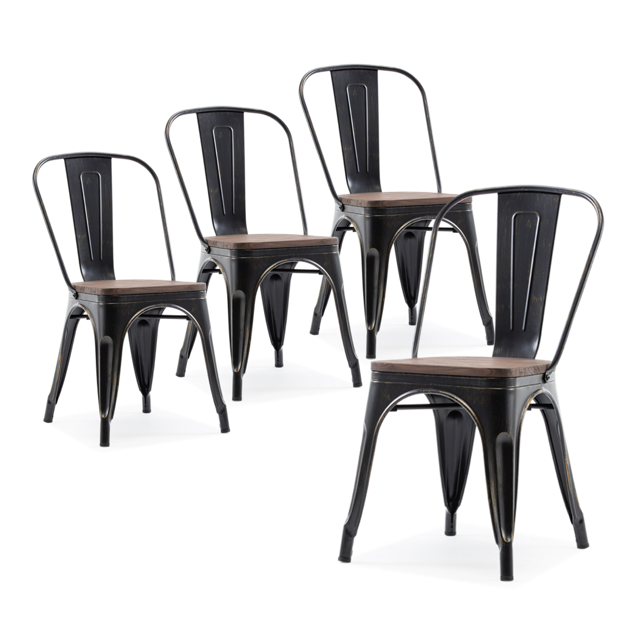 Details About Modern Style Metal Industrial Stackable Bistro Dining Chairs Set Of 4