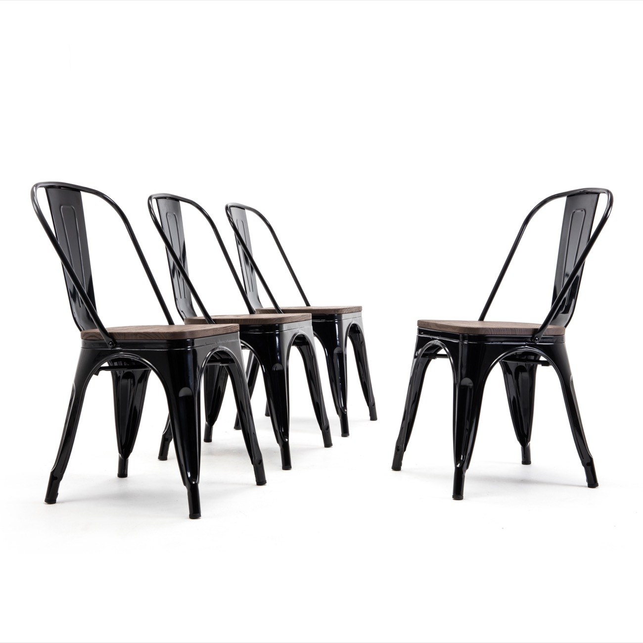 Set of 4 Bistro Metal Chairs with Wooden Seat with Backrest