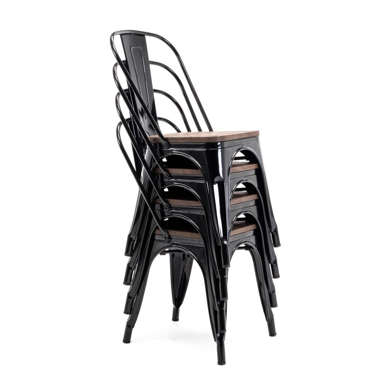 Black New Bistro Style Metal Chairs Set Of