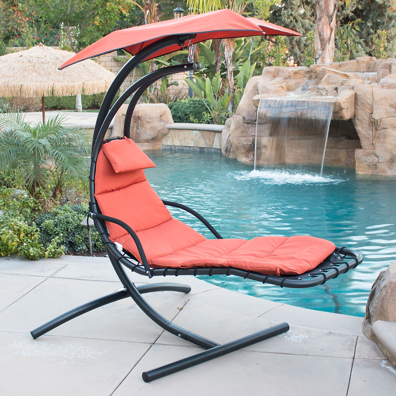 hanging chaise lounger chair arc stand air porch  hanging chaise lounger chair arc stand air porch swing hammock      rh   ebay