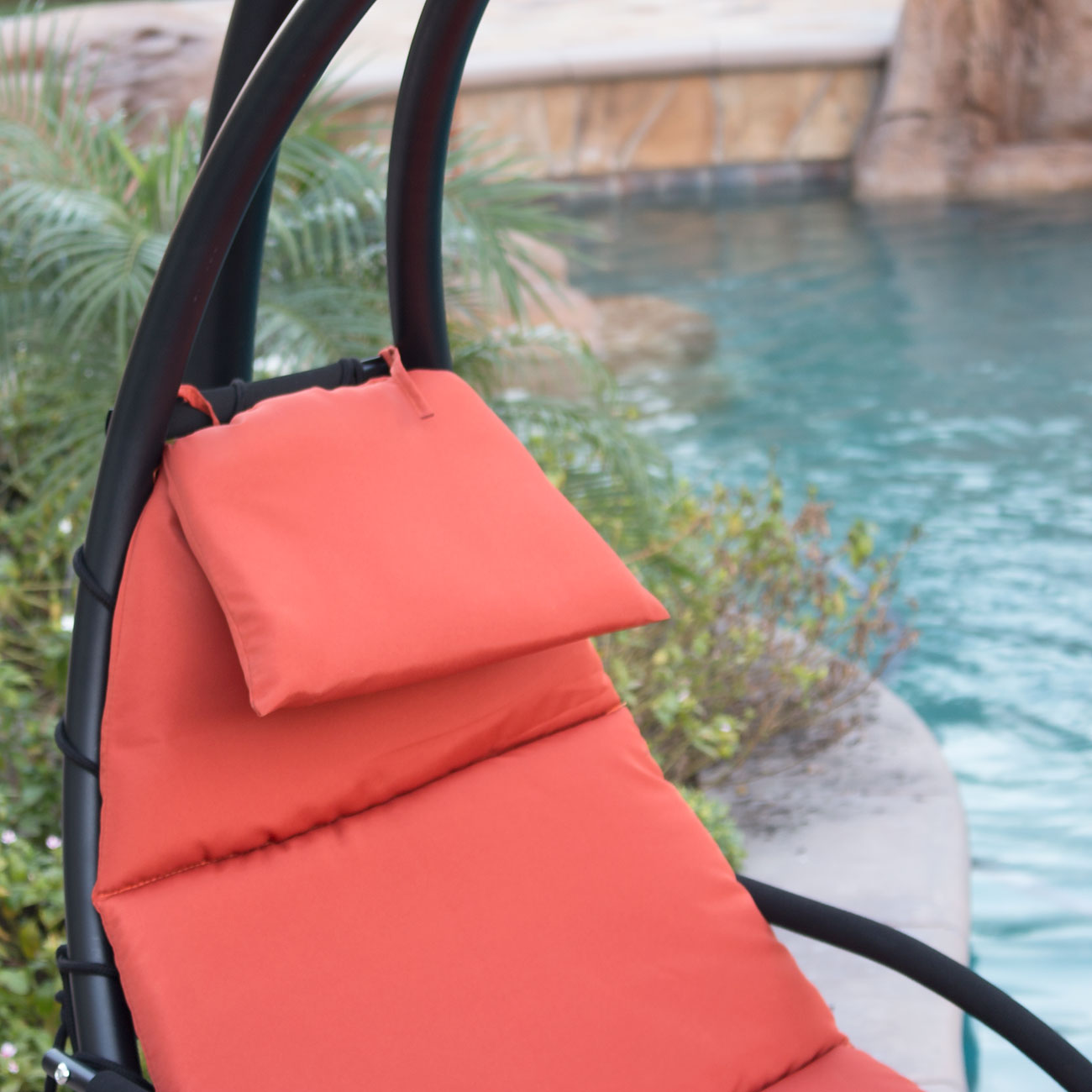 Superior Hanging Chaise Lounger Chair Arc Stand Air Porch Swing Hammock Chair Canopy  NEW