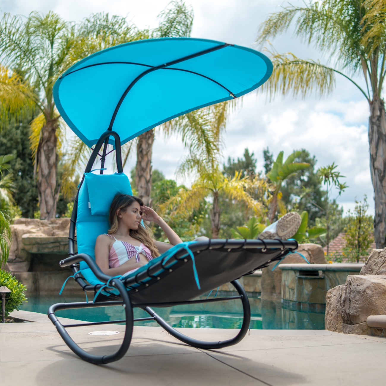 Outdoor Rocking Chaise Lounge Chair Cushion w/Canopy Shade ...