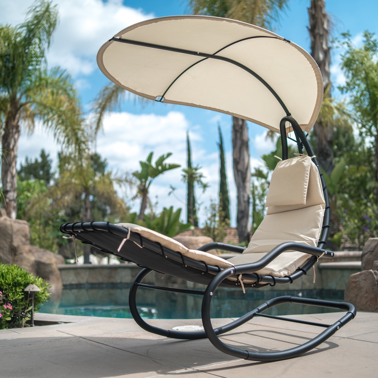 Incredible Details About Outdoor Rocking Chaise Lounge Chair Cushion W Canopy Shade Blue Orange White Forskolin Free Trial Chair Design Images Forskolin Free Trialorg