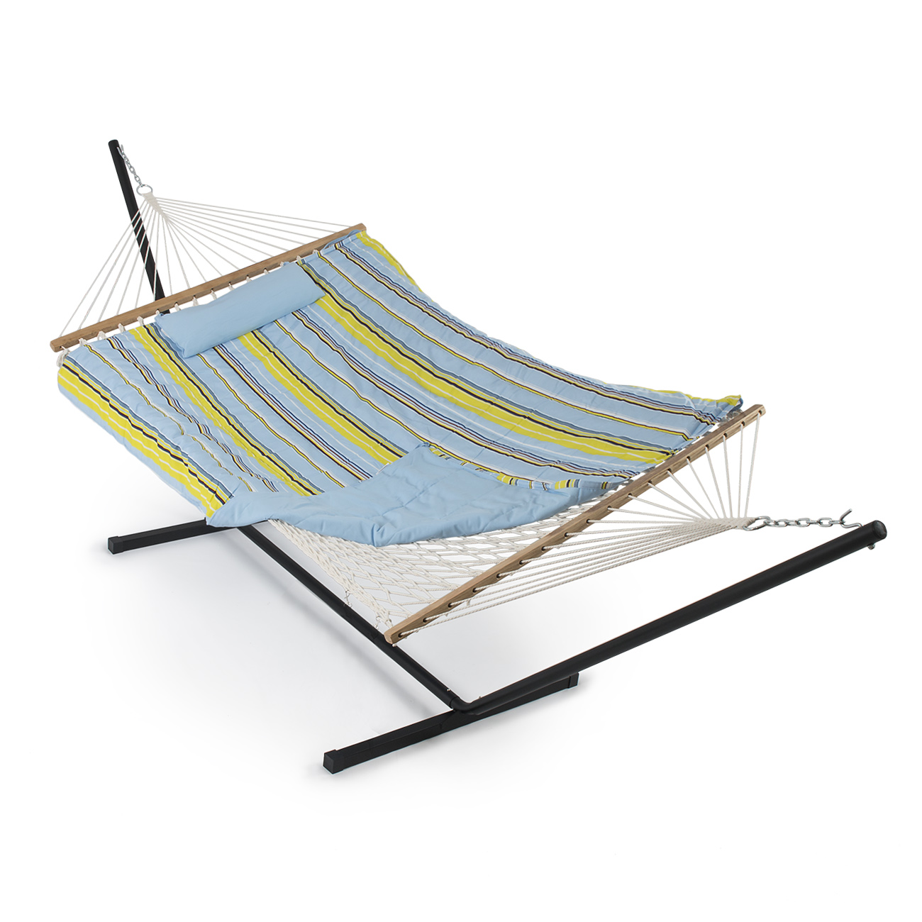 hammock desert dp rope quilted amazon stripe com set pillow pad stand sunnydaze outdoor w cotton and durable foot garden