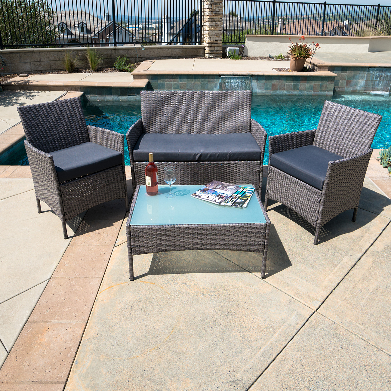 Stupendous Details About 4 Pc Rattan Patio Furniture Set Garden Lawn Sofa Gray Wicker Cushioned Seat Home Interior And Landscaping Ferensignezvosmurscom