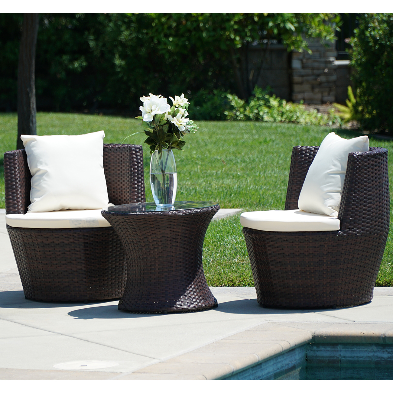 3 Pc Patio Outdoor Rattan Set Wicker Furniture Glass