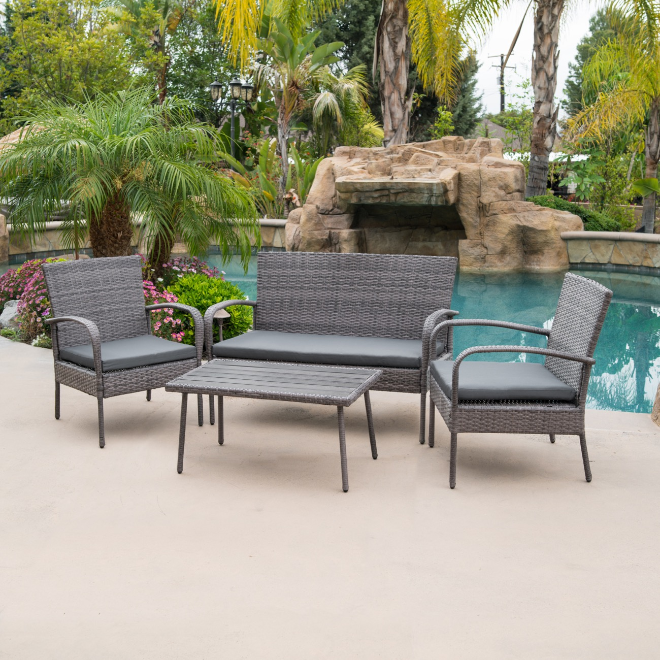 4 PC Wicker Outdoor Patio Set Water Proof Fabric Cushion Outdoor Set Table Gray & 4 Piece Outdoor Patio Wicker Set All Weather Rectangular Table ...