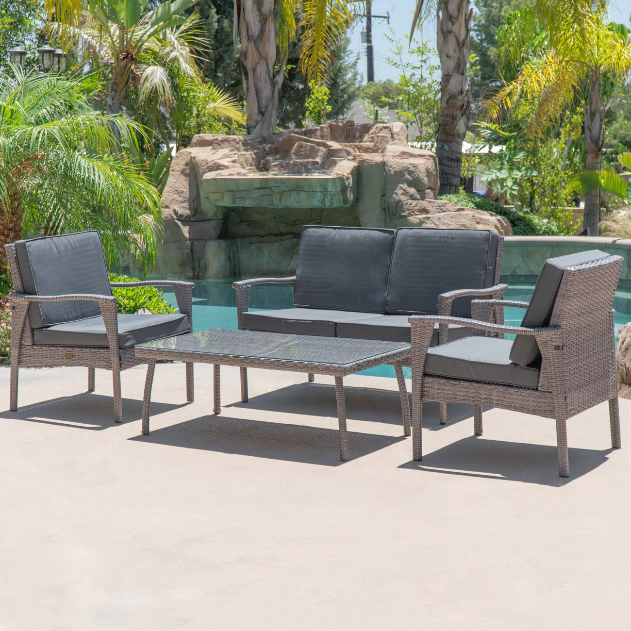 Details about outdoor lounge wicker set 4 piece love seat glass table 2 chairs uv grey finish